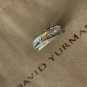 David yurman sterling & 18k crossover x ring s6.5